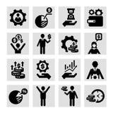 Bedrijfssuccespictogrammen Stock Afbeeldingen