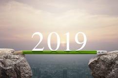 Bedrijfssuccesstrategie planningsconcept, Gelukkig nieuw jaar 2019 stock afbeelding