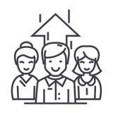 Bedrijfsteam, onderneemster en zakenman vectorlijnpictogram, teken, illustratie op achtergrond, editable slagen royalty-vrije illustratie