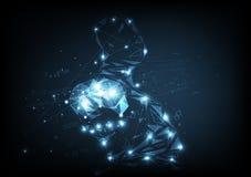 Bedrijfstechnologie, hersenen gloeiende veelhoek, creatieve digitale grafische abstracte vectorillustratie als achtergrond stock illustratie