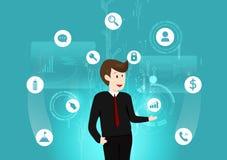 Bedrijfstechnologie, mens digitale futuristisch werken, gegevens, investering, teken en van de symboolinformatie vectorillustrati stock illustratie