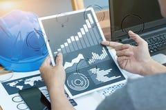 Bedrijfstechnologieconcept, bedrijfsmensen die de grafiek bespreken Stock Afbeelding