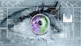 Bedrijfstechnologieinterface tegen oog op achtergrond royalty-vrije illustratie