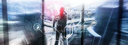 Bedrijfstoepassingenpictogrammen op vage achtergrond Financieel en handel drijvend Internet-technologieconcept stock afbeelding