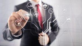 Bedrijfstoepassingenpictogrammen op vage achtergrond Financieel en handel drijvend Internet-technologieconcept vector illustratie