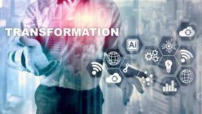 Bedrijfstransformatie Toekomst en Innovatie Internet en netwerkconcept Abstracte bedrijfsachtergrond Gemengde media stock afbeeldingen