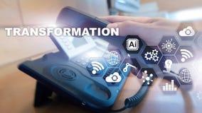 Bedrijfstransformatie Toekomst en Innovatie Internet en netwerkconcept Abstracte bedrijfsachtergrond Gemengde media royalty-vrije stock afbeeldingen