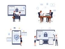 Bedrijfsveiligheids vlakke reeks stock illustratie