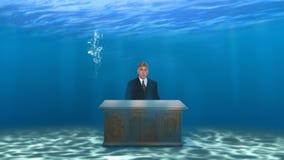 Bedrijfsverkoop die Bureau op de markt brengen Onderwater Stock Afbeeldingen