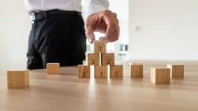 Bedrijfsvisieconcept - zakenman die houten kubussen schikken royalty-vrije stock afbeelding