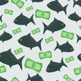 Bedrijfsvissen met geld naadloos patroon stock illustratie