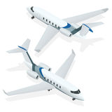 Bedrijfsvliegtuigen Privé jet Vliegtuig Privé stralen Vlakke 3d isometrische vectorillustratie voor infographics Stock Afbeelding