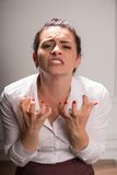 Bedrijfsvrouw die aan depressie lijden Royalty-vrije Stock Foto