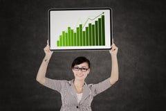 Bedrijfsvrouw die de groeigrafiek tonen Stock Foto's