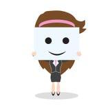 Bedrijfsvrouw die glimlachgezicht op witte achtergrond, vectorillustratie in vlak ontwerp tonen Stock Foto