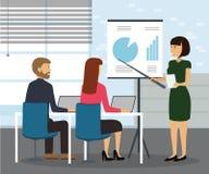 Bedrijfsvrouw die grafiek en strategie verklaren vector illustratie
