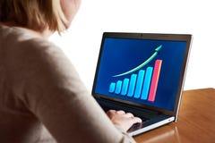 Bedrijfsvrouw die grafiek van de groeiindicatoren bekijken op laptop Stock Foto