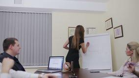 Bedrijfsvrouw die grafiek voorleggen stock footage