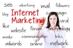 Bedrijfsvrouw die Internet-marketing concept schrijven Geïsoleerd op wit stock foto