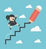 Bedrijfsvrouw die ladder van succes beklimmen Stock Afbeeldingen