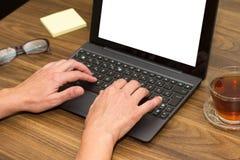 Bedrijfsvrouw die laptop met behulp van Royalty-vrije Stock Fotografie