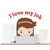 Bedrijfsvrouw die met notitieboekje en woord werken vector illustratie