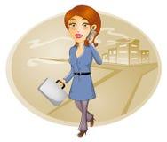 Bedrijfsvrouw die op slimme telefoon spreken Stock Fotografie