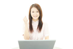 Bedrijfsvrouw die van succes genieten Stock Afbeelding