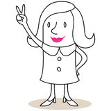 Bedrijfsvrouw die zegevierend handteken tonen Stock Afbeelding