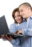 Bedrijfsvrouw en man die samenwerken Royalty-vrije Stock Foto's