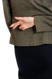 Bedrijfsvrouw gekruiste vingers Royalty-vrije Stock Fotografie