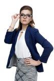 Bedrijfsvrouw in glazen op een witte achtergrond Stock Afbeeldingen