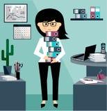 Bedrijfsvrouw in het stijl vlakke ontwerp royalty-vrije illustratie