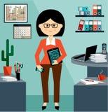 Bedrijfsvrouw in het stijl vlakke ontwerp stock illustratie