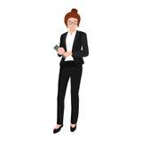 Bedrijfsvrouw in kostuum, dossiers en geval, beambteteam Royalty-vrije Stock Foto