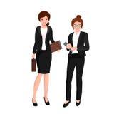 Bedrijfsvrouw in kostuum, dossiers en geval, beambteteam Stock Afbeeldingen