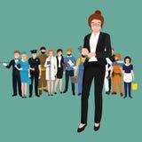 Bedrijfsvrouw in kostuum, dossiers en geval, beambteteam Royalty-vrije Stock Fotografie
