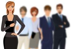 Bedrijfsvrouw met commercieel team vector illustratie