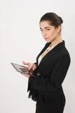 Bedrijfsvrouw met de tablet stock afbeelding