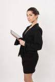 Bedrijfsvrouw met de tablet stock fotografie