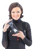 bedrijfsvrouw, met de zandloper. Stock Afbeelding