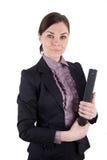 Bedrijfsvrouw met dossieromslag Stock Afbeelding