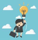 Bedrijfsvrouw met een idee van de succesballon stock illustratie