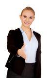 Bedrijfsvrouw met een open hand klaar voor handdruk royalty-vrije stock foto