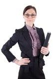 Bedrijfsvrouw met glazen en dossieromslag Stock Fotografie