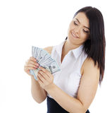 Bedrijfsvrouw met in hand contant geld Stock Foto's