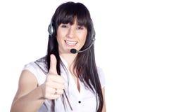 Bedrijfsvrouw met hoofdtelefoon Royalty-vrije Stock Afbeeldingen