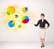 Bedrijfsvrouw met kleurrijke grafieken en grafieken Royalty-vrije Stock Fotografie