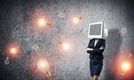 Bedrijfsvrouw met monitor in plaats van hoofd Royalty-vrije Stock Afbeeldingen