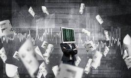 Bedrijfsvrouw met monitor in plaats van hoofd Royalty-vrije Stock Foto's